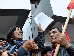 Carlos Pérez Guartambel, presidente de la Ecuarunari, fue uno de los asistentes al plantón.
